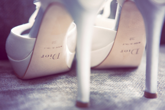 A Tiered Lace Wedding Dress And Dior Shoes For An Elegant Country House